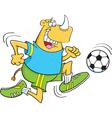 Cartoon rhino playing soccer vector