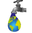 Conceptual of leaking tap in the shape of earth vector