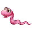Cute red worm cartoon vector