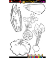 Cartoon vegetables set for coloring book vector
