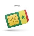 Senegal mobile phone sim card with flag vector