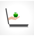 Hand holding apple comes from laptop screen stock vector