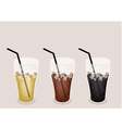 Three kind of iced coffee on brown background vector