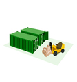 Forklift loading shipping boxes into container vector