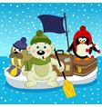 Polar bear walrus penguin travel on floe vector