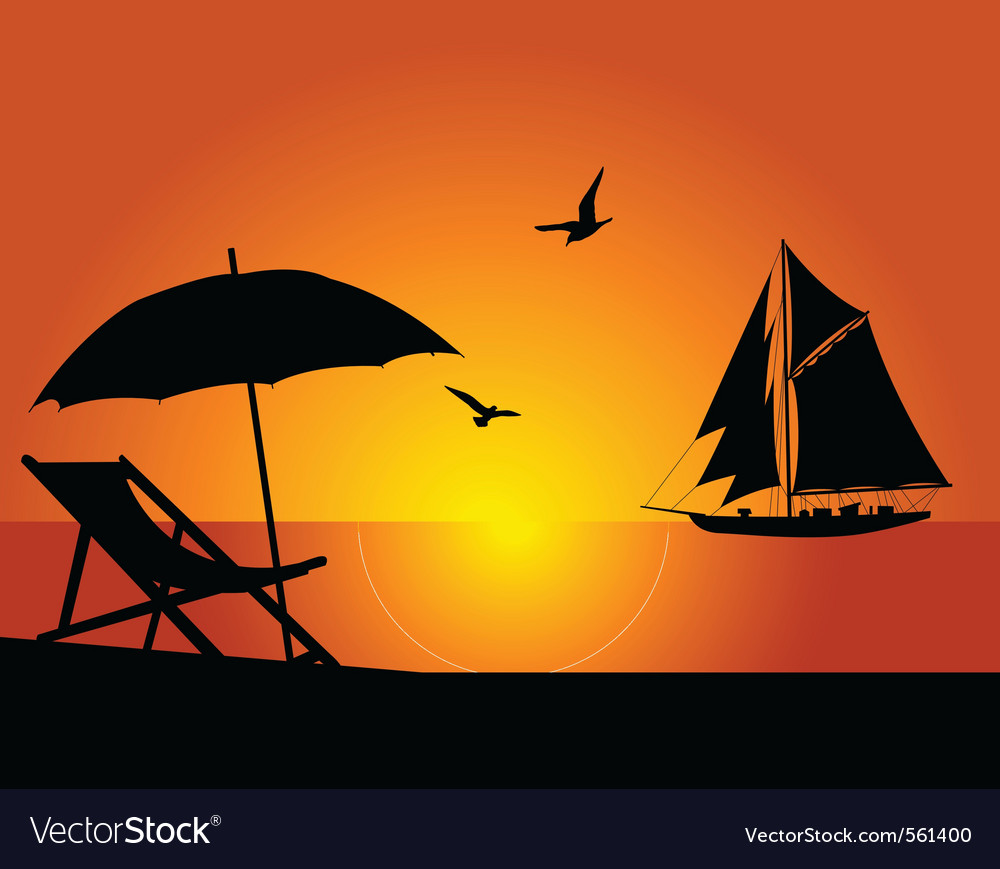 Beach and yacht vector | Price: 1 Credit (USD $1)