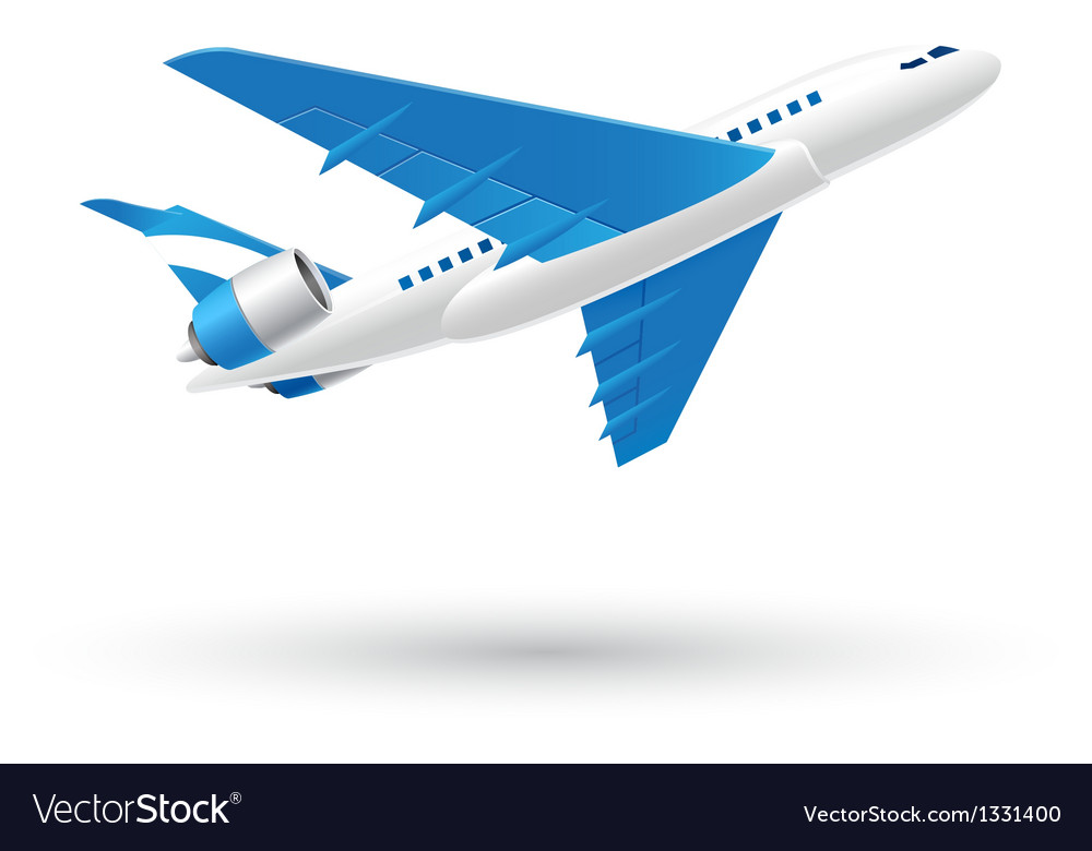 Blue and white airplane icon vector | Price: 3 Credit (USD $3)