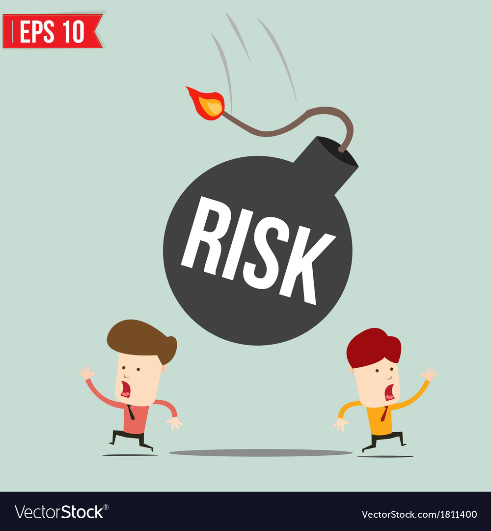 Businessman run away from risk bomb vector | Price: 1 Credit (USD $1)