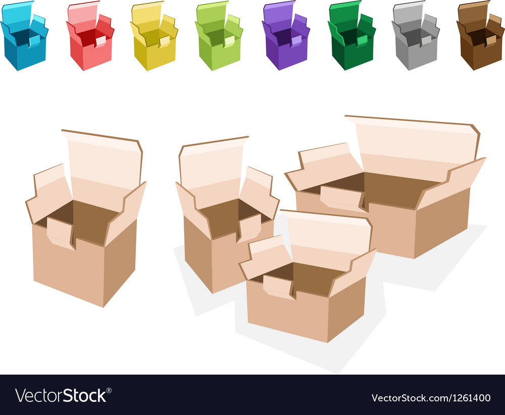 Colorful set of open cardboard boxes vector | Price: 1 Credit (USD $1)