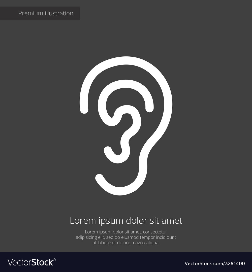 Ear premium icon white on dark background vector | Price: 1 Credit (USD $1)