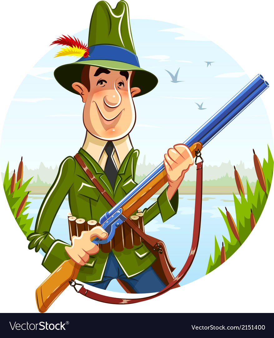 Hunter man with rifle on vector | Price: 3 Credit (USD $3)