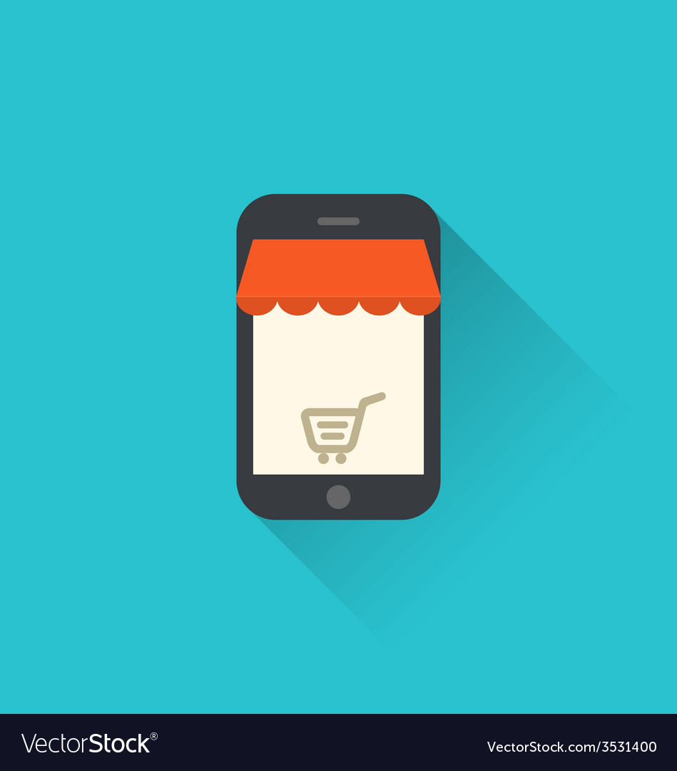 Online shopping on smartphone via modern vector | Price: 1 Credit (USD $1)