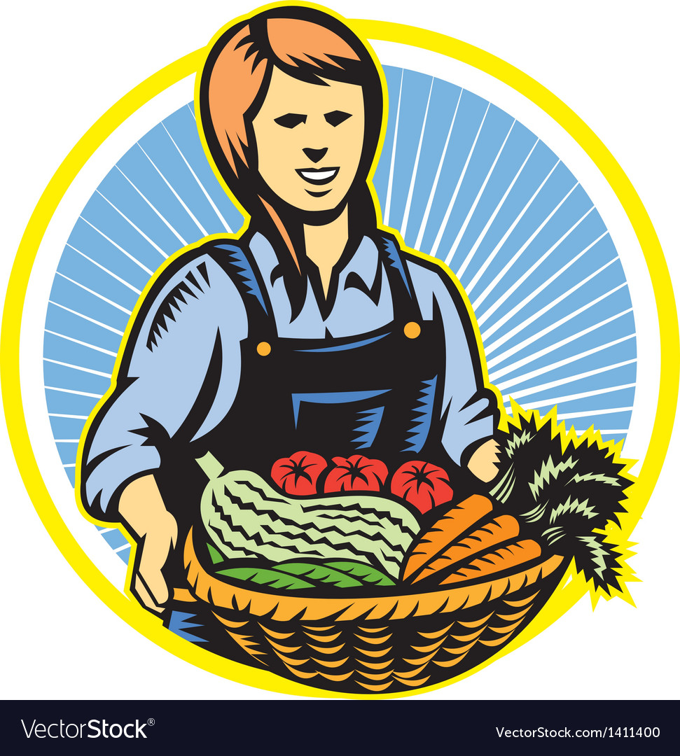 Organic farmer farm produce harvest retro vector | Price: 1 Credit (USD $1)