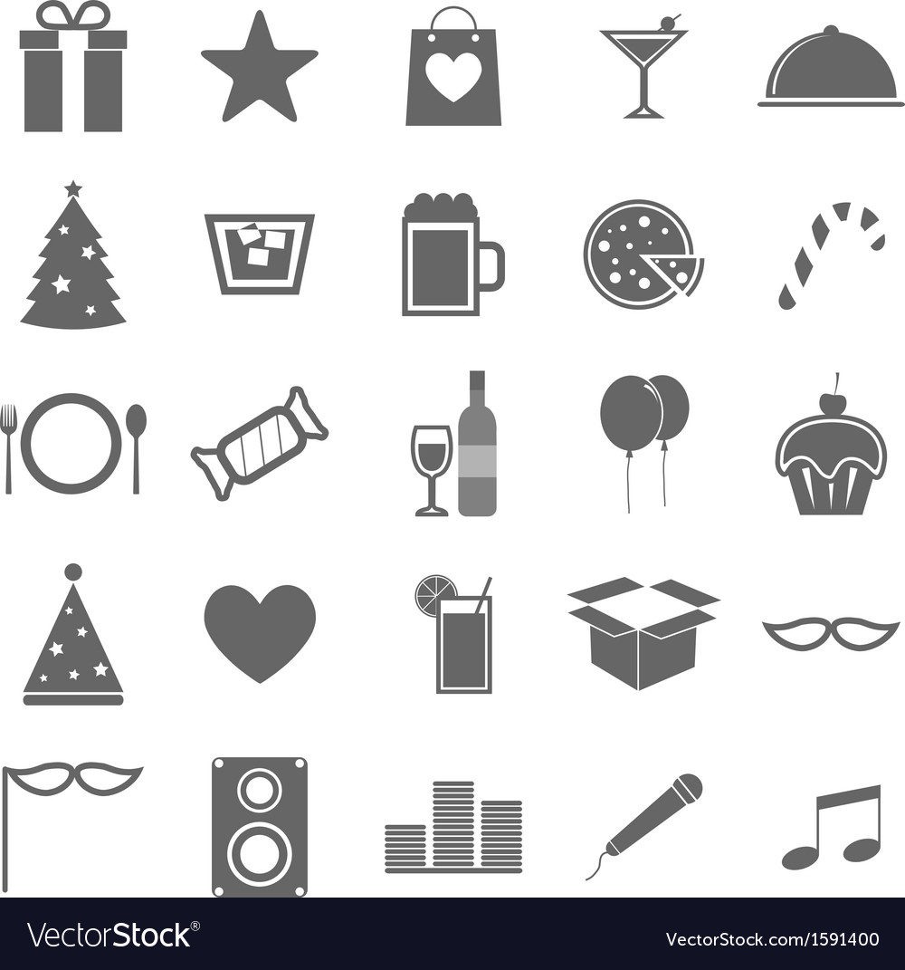 Party icons on white background vector | Price: 1 Credit (USD $1)