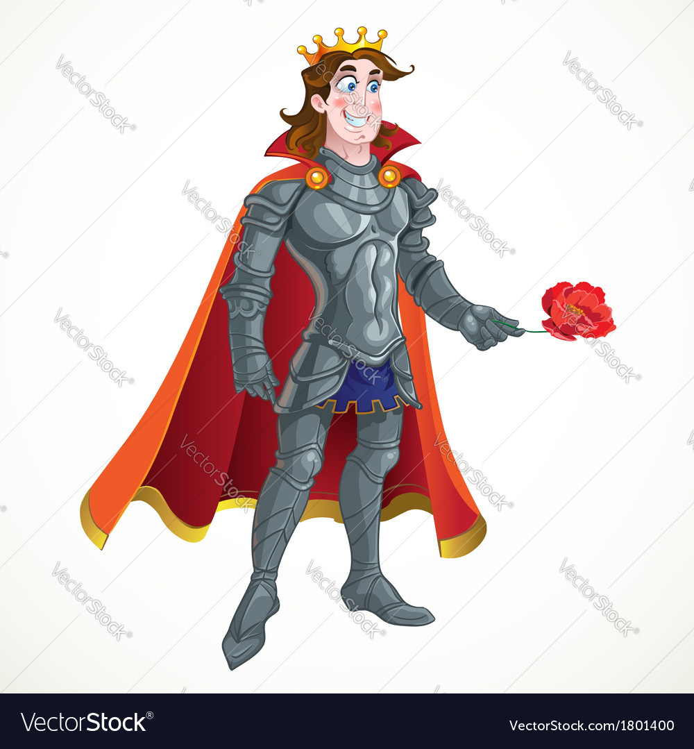 Prince charming in armour give flover vector | Price: 3 Credit (USD $3)