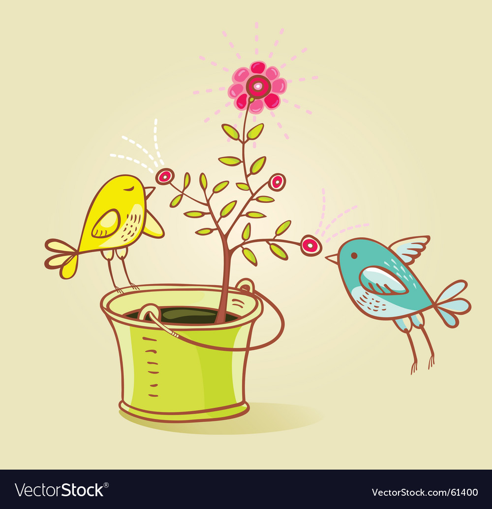 Two birds and flower aroma vector | Price: 1 Credit (USD $1)