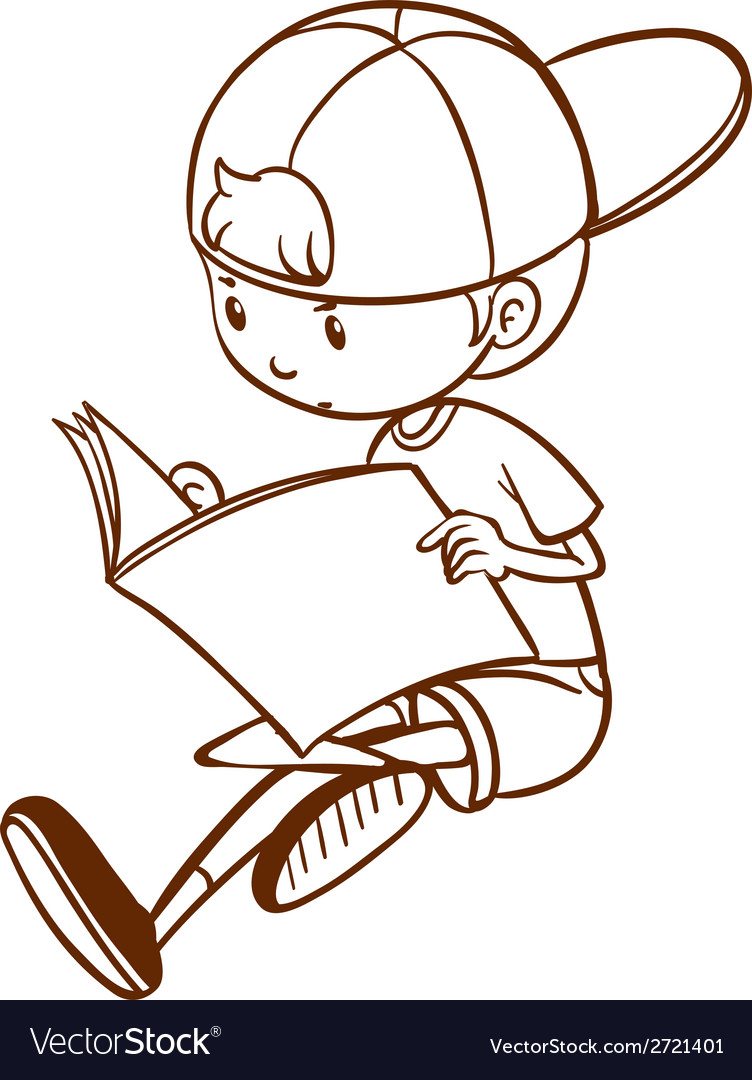 A simple sketch of a boy reading vector | Price: 1 Credit (USD $1)