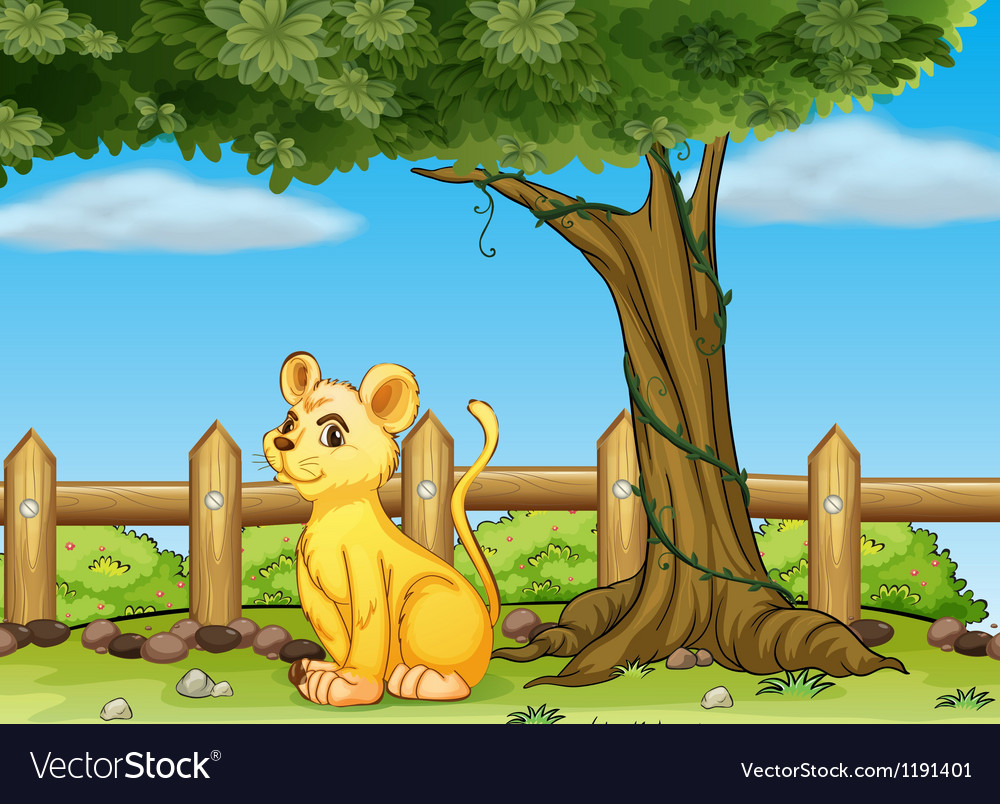 A young tiger inside the fence vector | Price: 1 Credit (USD $1)