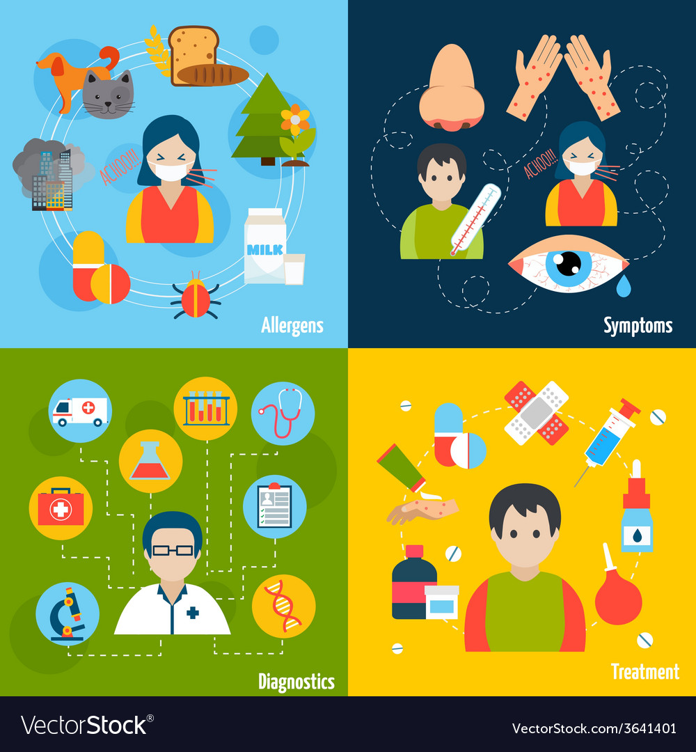 Allergies icons set vector | Price: 1 Credit (USD $1)