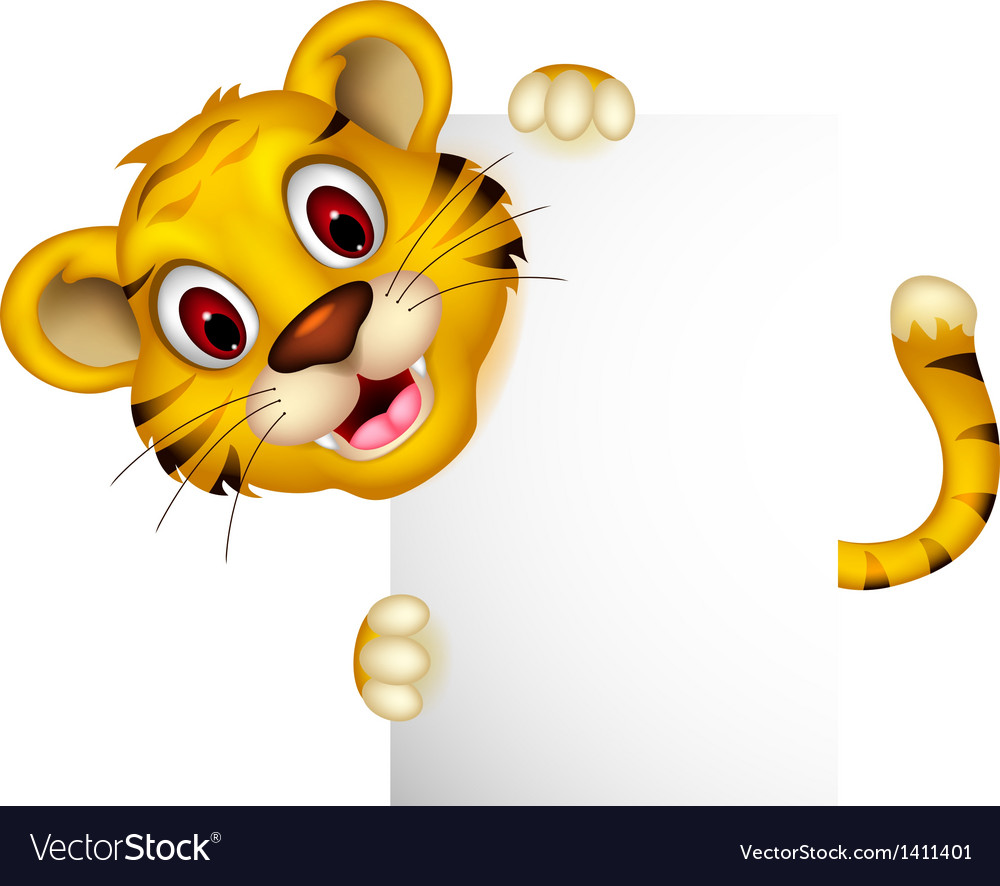 Cute baby tiger with blank sign vector | Price: 1 Credit (USD $1)