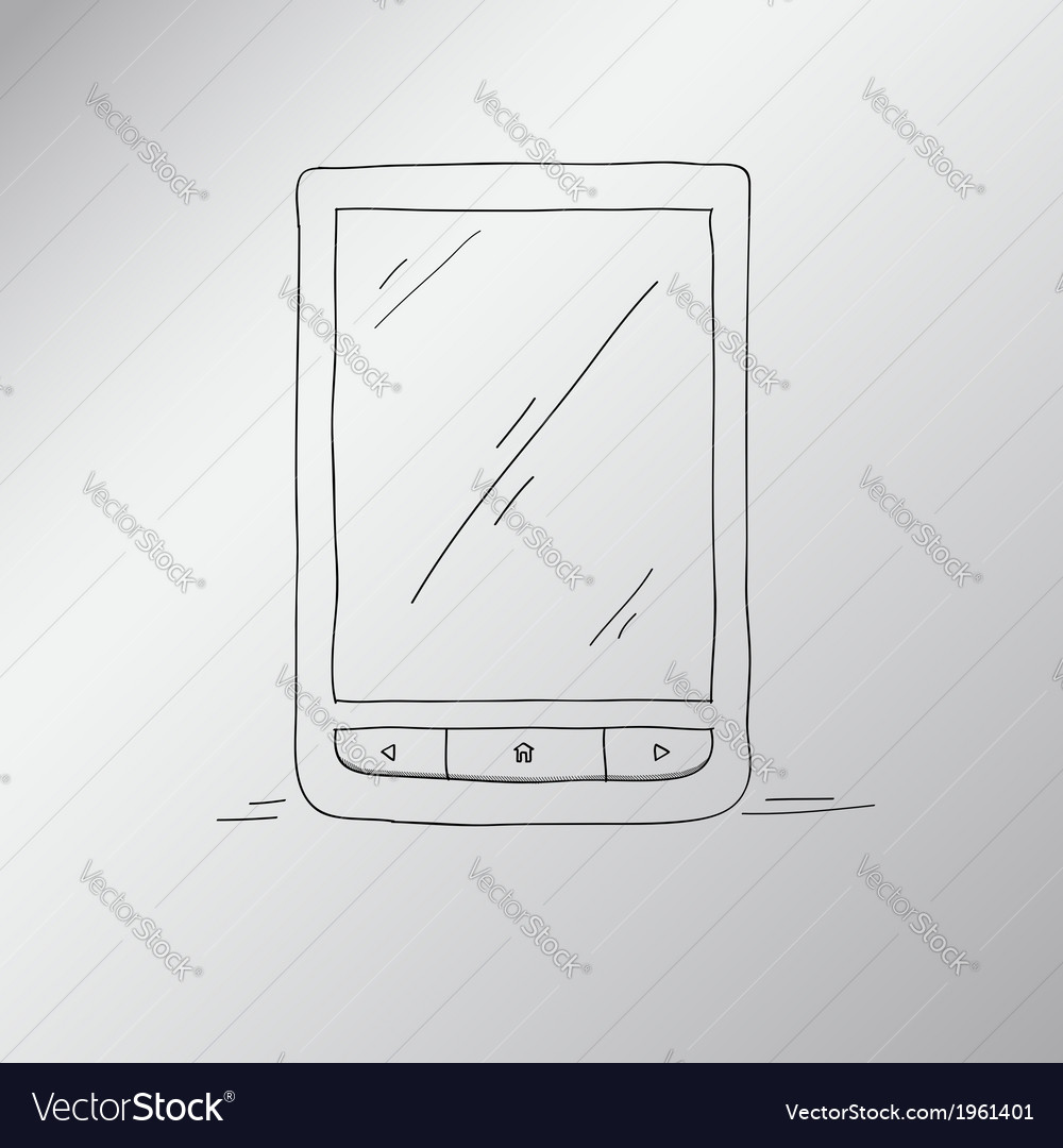 E-book hand-drawn an electronic device for reading vector | Price: 1 Credit (USD $1)