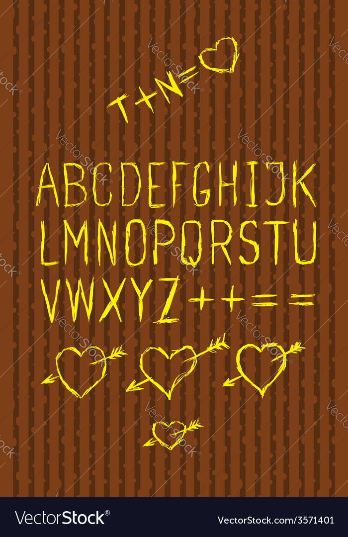 Full alphabet cutout on bark vector | Price: 1 Credit (USD $1)
