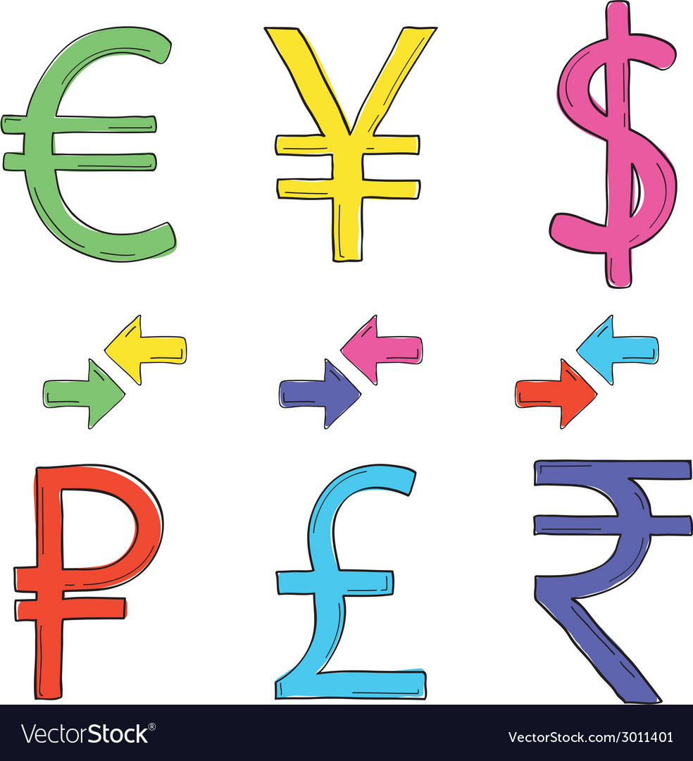 Hand drawing set of currency symbols vector | Price: 1 Credit (USD $1)