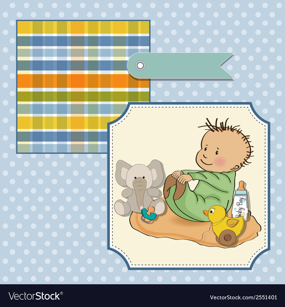 Little baby boy play with his toys vector | Price: 1 Credit (USD $1)