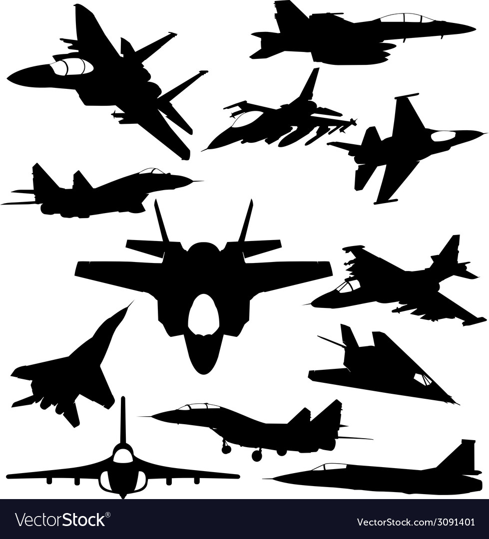 Military jetfighter silhouettes vector