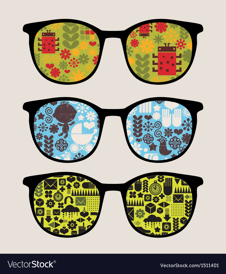 Retro sunglasses with abstract nature reflection vector | Price: 1 Credit (USD $1)