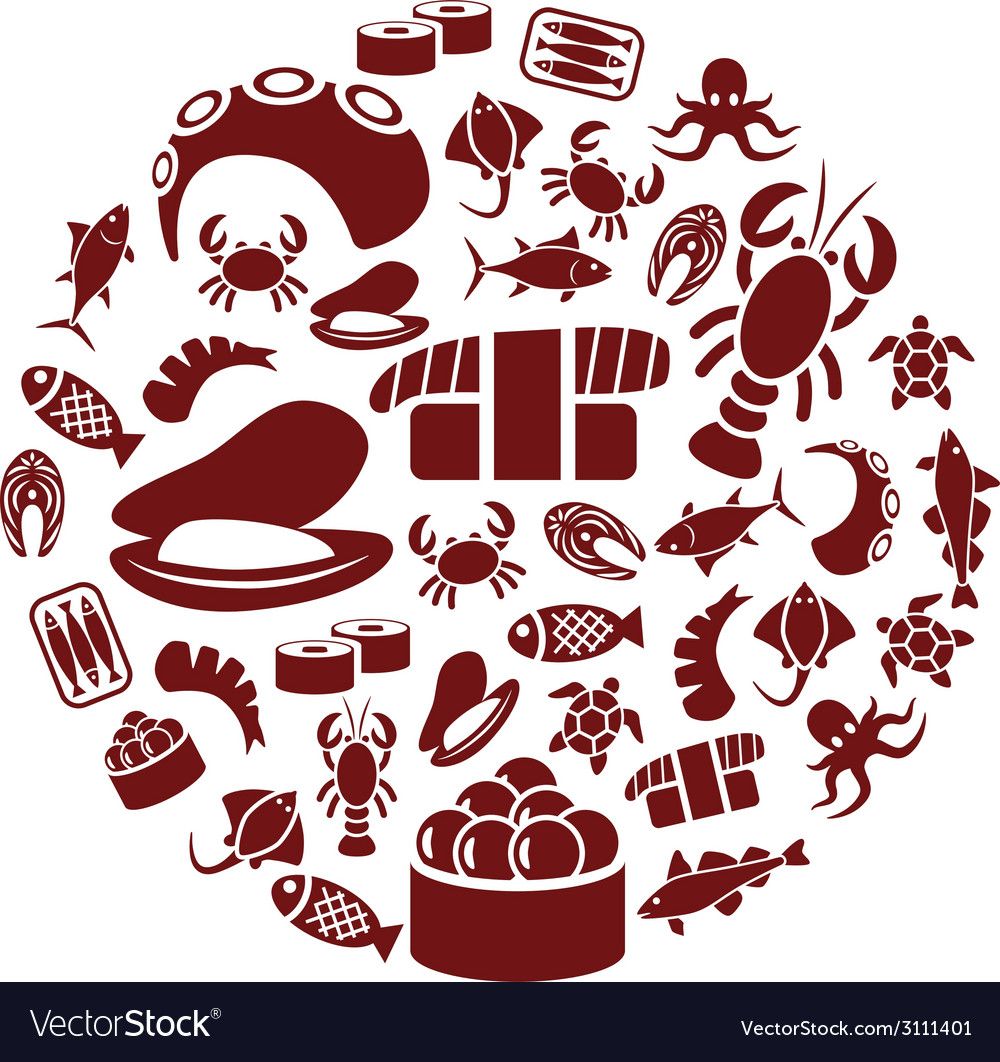 Seafood in circle vector | Price: 1 Credit (USD $1)