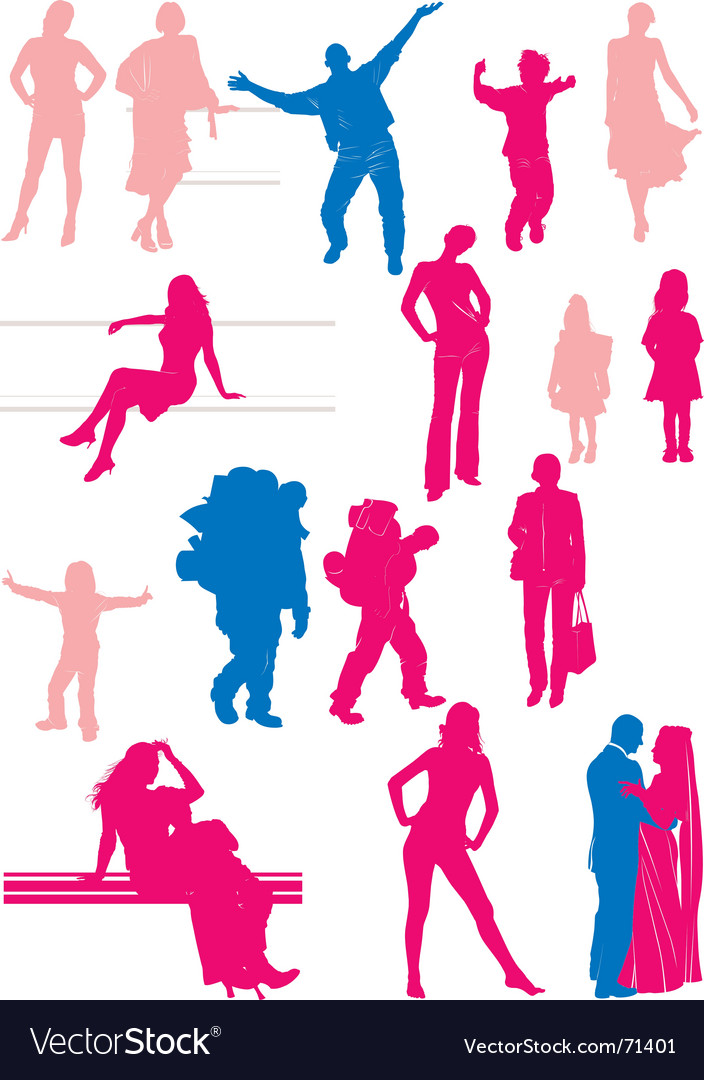 Sixteen people silhouettes vector | Price: 1 Credit (USD $1)