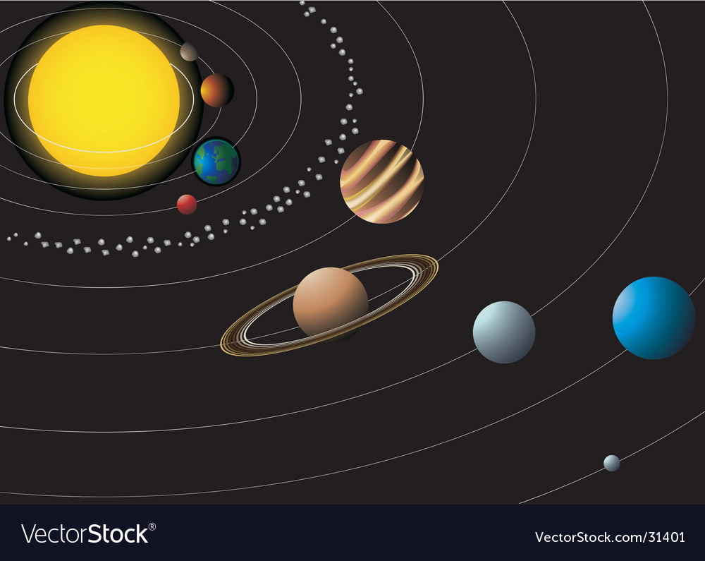 Solar system with nine planets vector | Price: 1 Credit (USD $1)