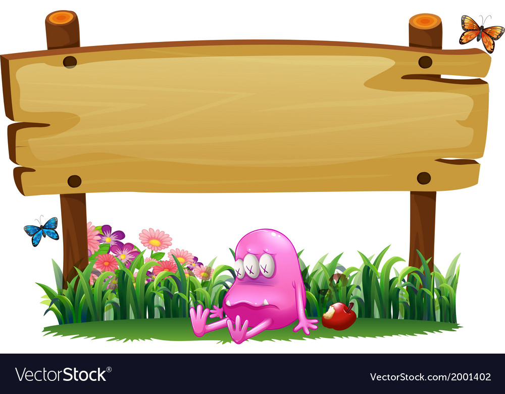 A poisoned pink monster under the empty wooden vector | Price: 3 Credit (USD $3)