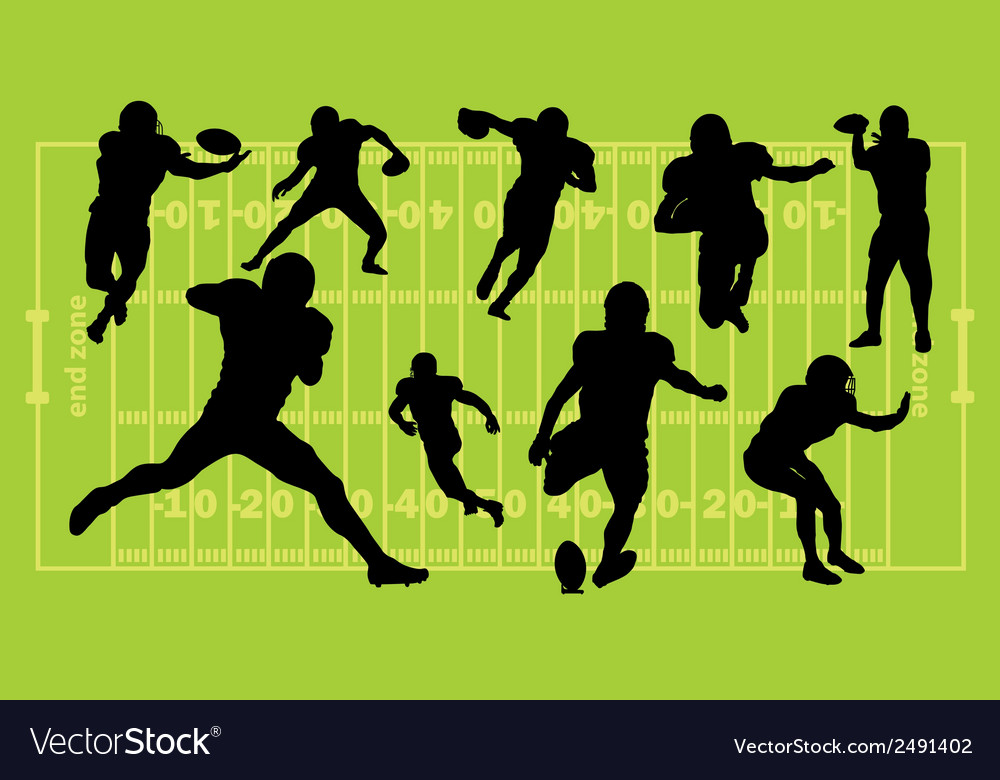 American football silhouettes vector | Price: 1 Credit (USD $1)
