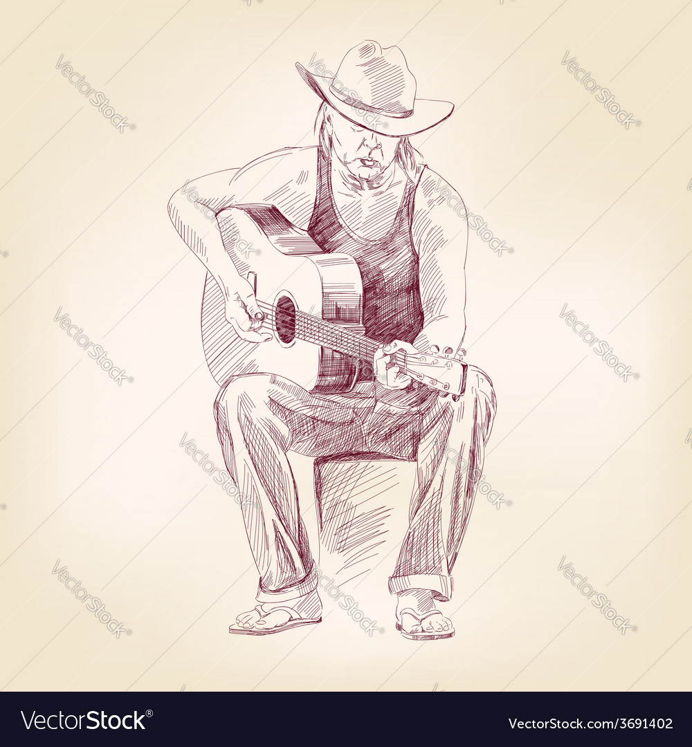 Guitarist hand drawn llustration realistic sketch vector | Price: 1 Credit (USD $1)