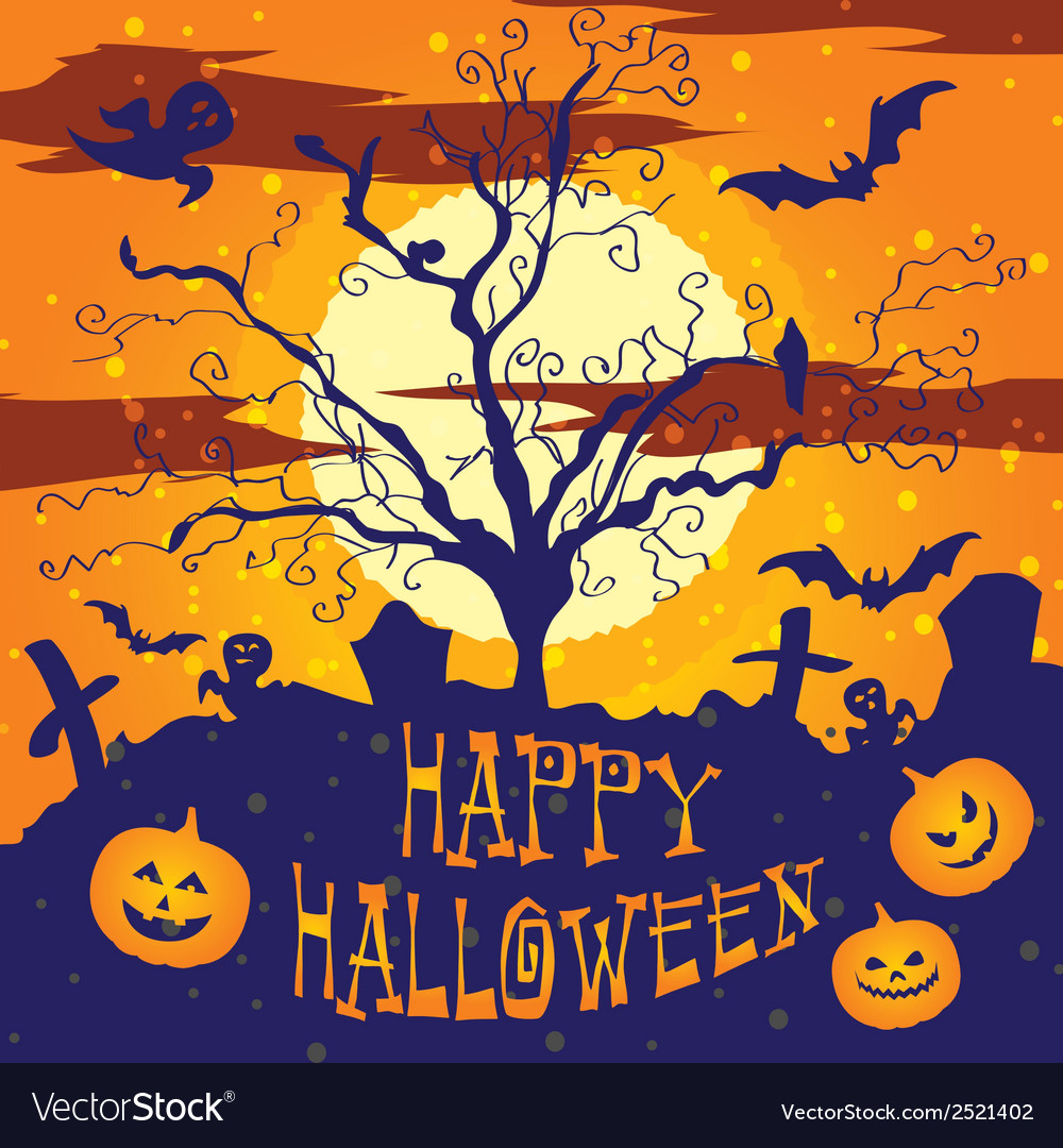 Halloween graveyard vector | Price: 1 Credit (USD $1)