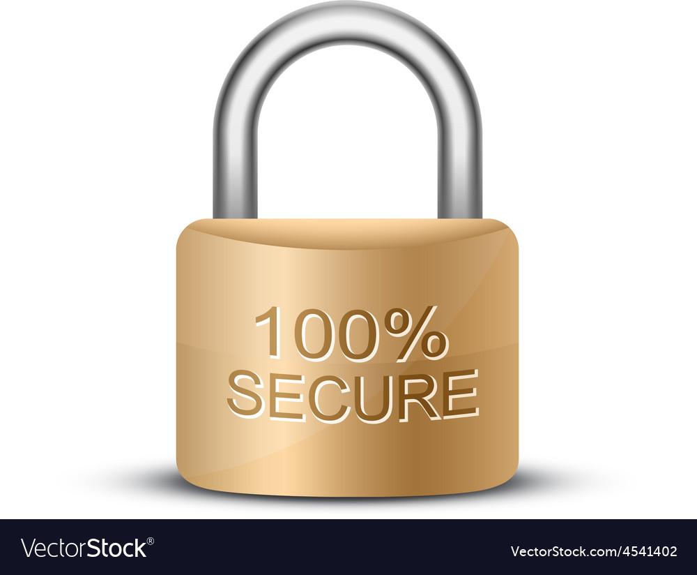 Metallic padlock 100 secure vector | Price: 1 Credit (USD $1)