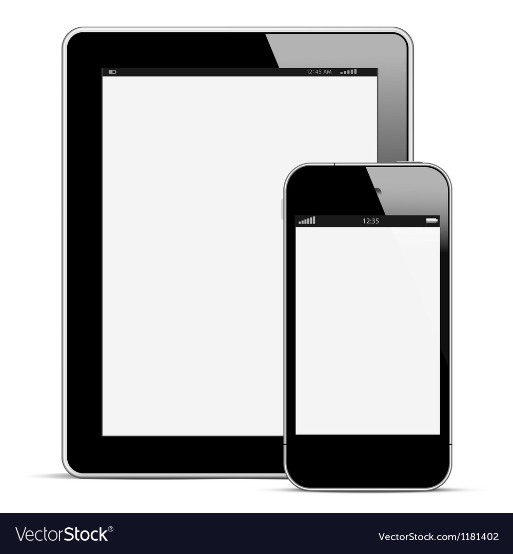 Modern digital tablet pc with mobile smartphone vector | Price: 1 Credit (USD $1)