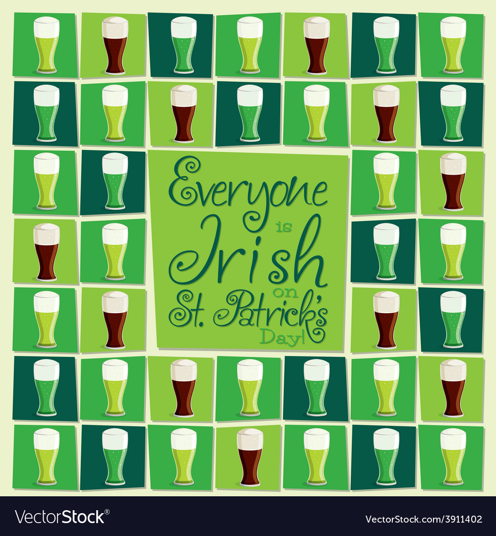 Mosaic funky st patricks day card in format vector | Price: 1 Credit (USD $1)