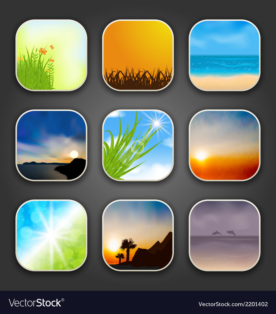 Natural landscapes for the app icons vector | Price: 1 Credit (USD $1)
