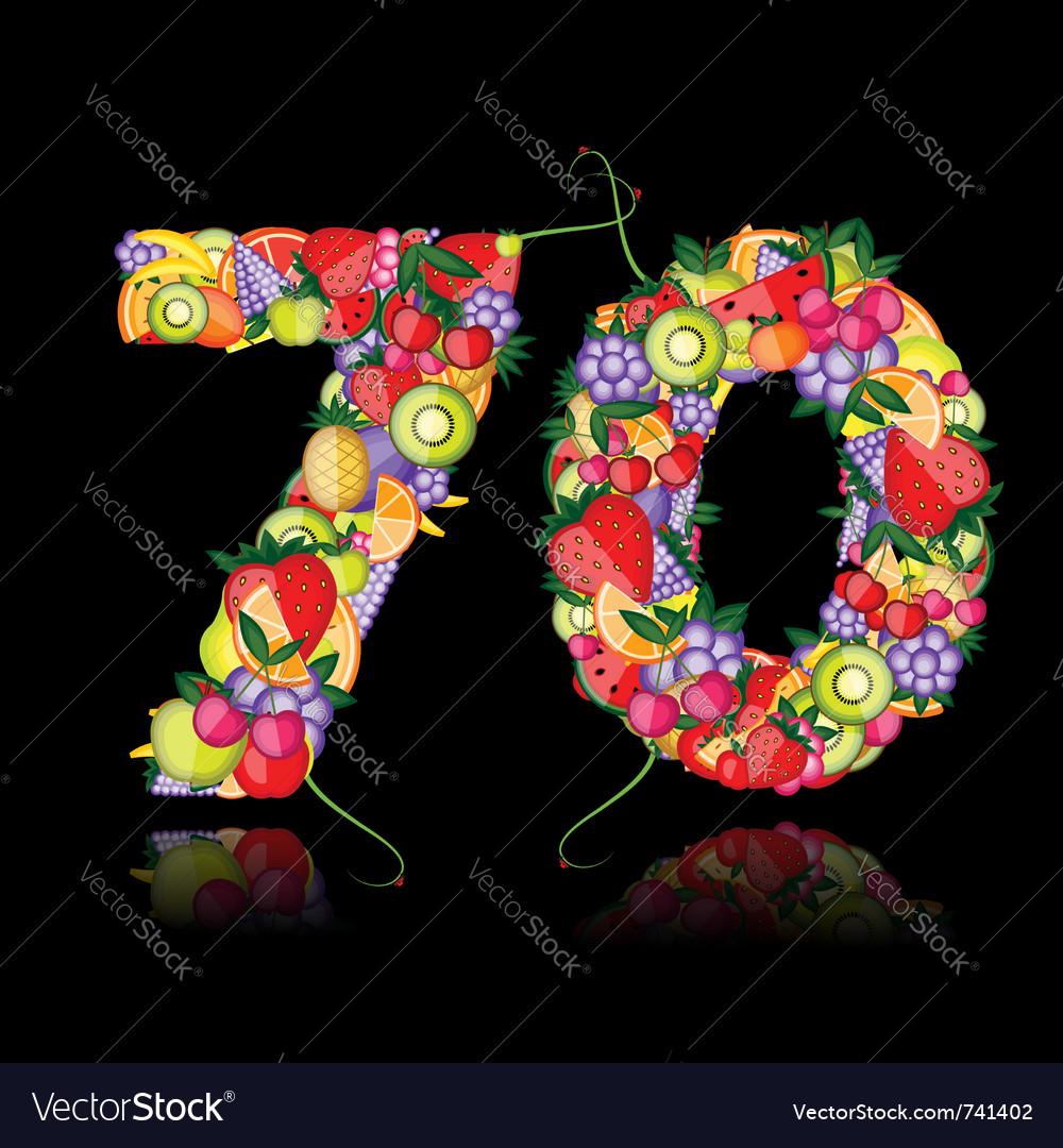 Number seventy made from fruits vector | Price: 1 Credit (USD $1)