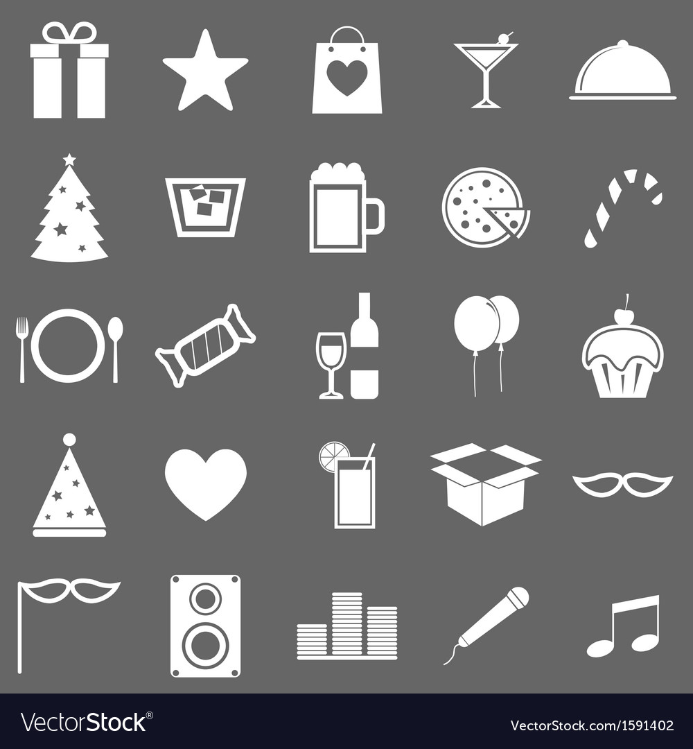 Party icons on gray background vector | Price: 1 Credit (USD $1)