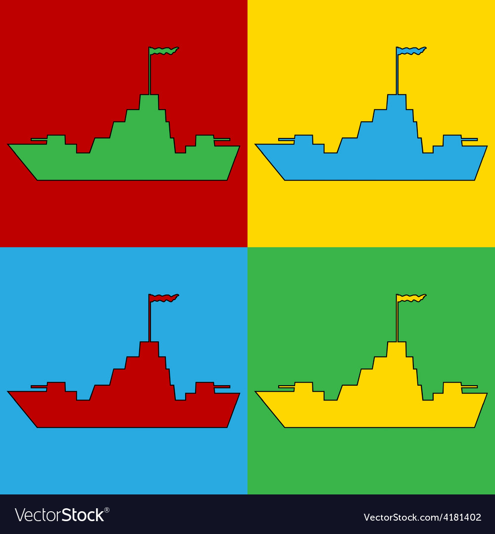 Pop art warship icons vector | Price: 1 Credit (USD $1)