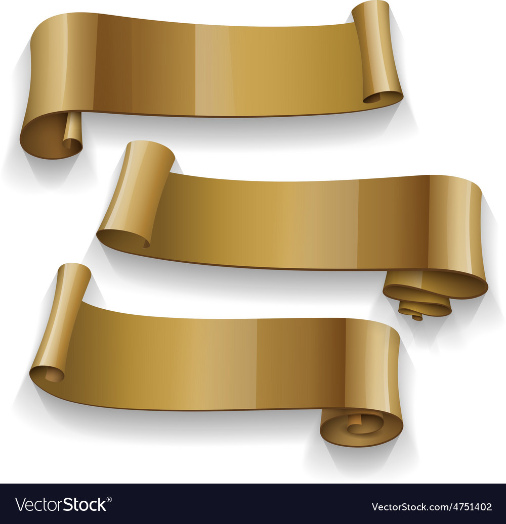 Realistic gold glossy ribbons set vector | Price: 3 Credit (USD $3)