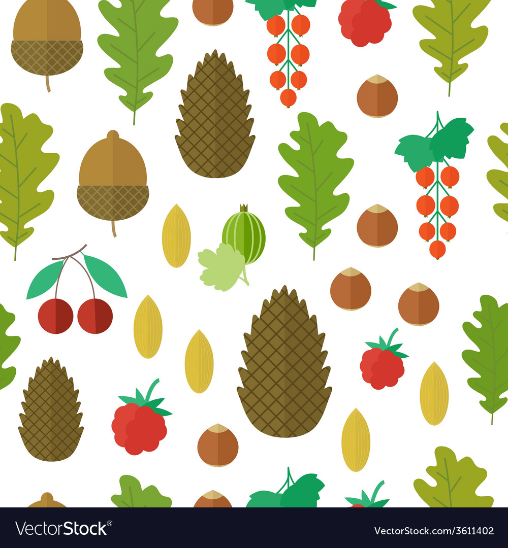 Seamless pattern with nuts and berries vector | Price: 1 Credit (USD $1)