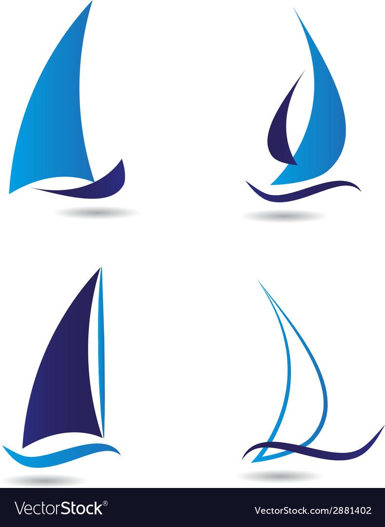 Set logos sailboat or navigation vector | Price: 1 Credit (USD $1)