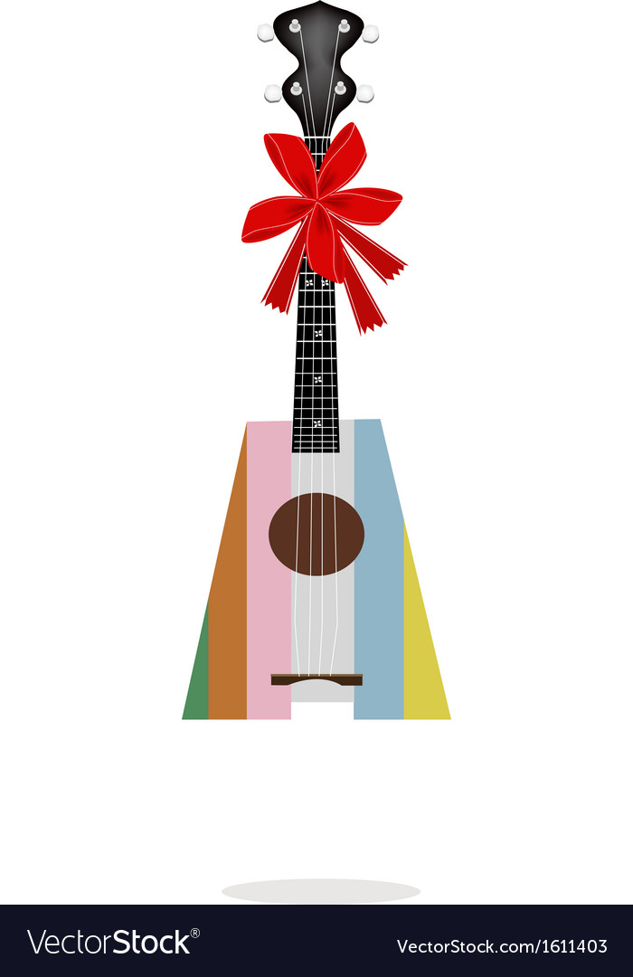 A beautiful ukulele guitar with red ribbon vector | Price: 1 Credit (USD $1)