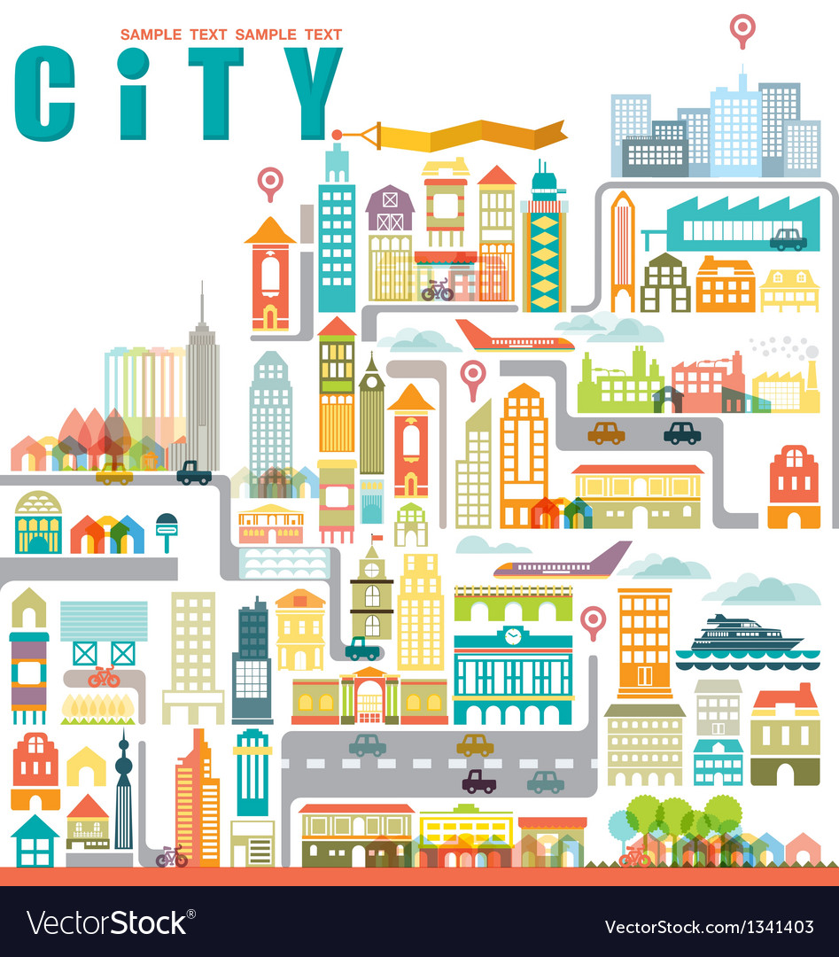 City map with building vector