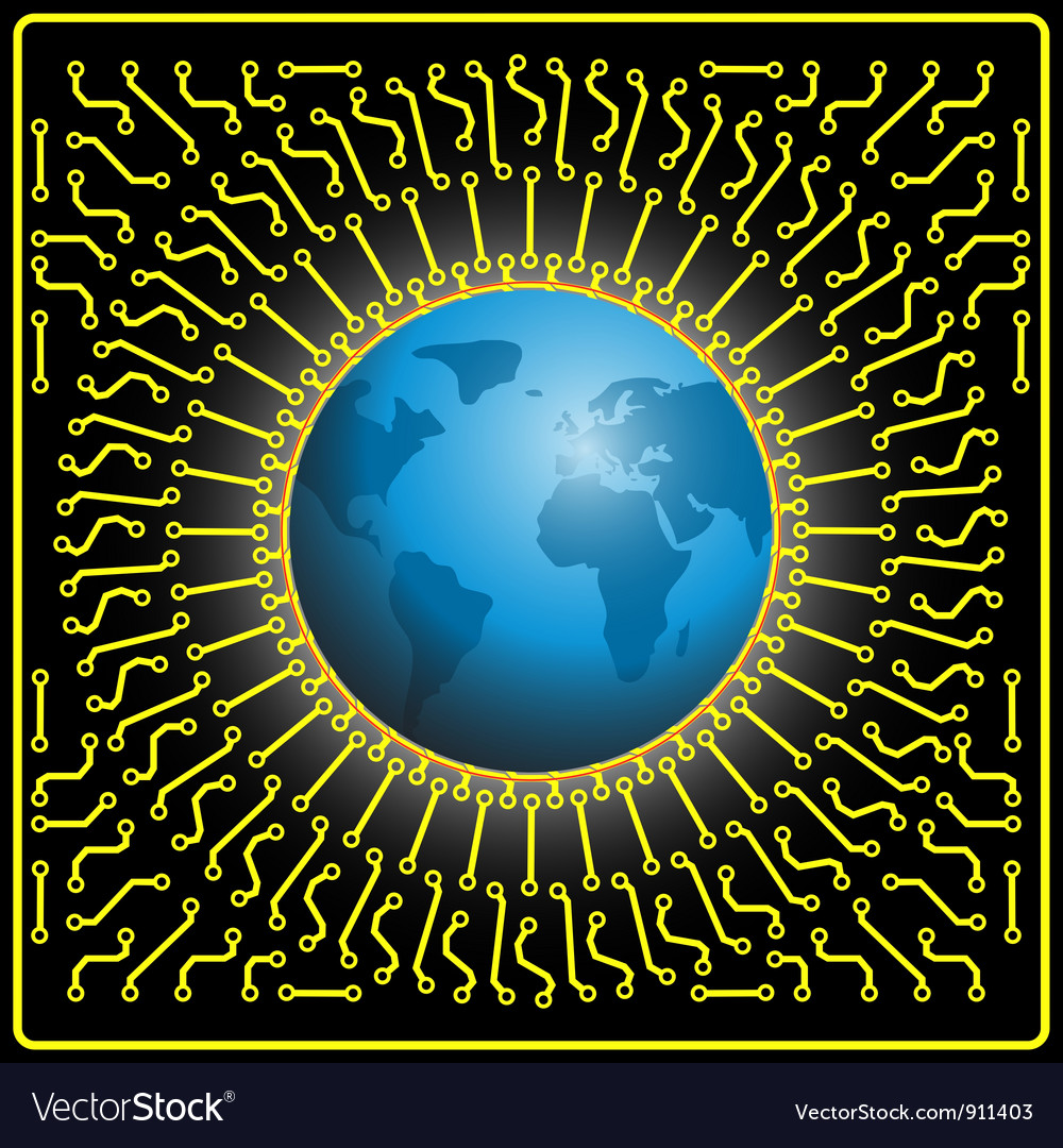 Earth in microchip vector | Price: 1 Credit (USD $1)